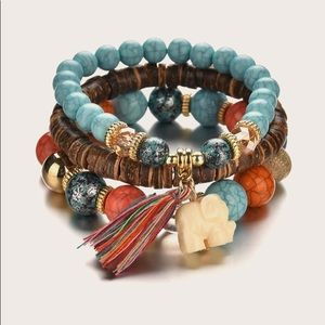 ❤️NEW 3 Pcs Elephant Charm Beaded Bracelet!❤️